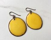 LARGE YELLOW earrings. Tagua nut jewelry. Light weight earrings. Statement earrings. Sela Designs. Ready to ship.