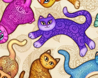 Quilting Treasures A Tail Of Two Kitties Tosses Kitties fabric - 1 yard