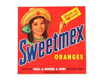Vintage 1950's Fruit Crate Label- Sweetmex Oranges