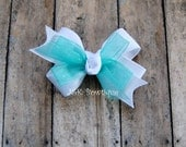 Double layer classic bow...White with aqua