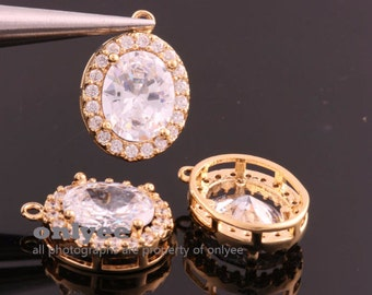 10pcs-17mmX12mmX6mmBright Gold plated (clear)LUX Cubic zirconia Oval Pendants Lead Free (K869G)