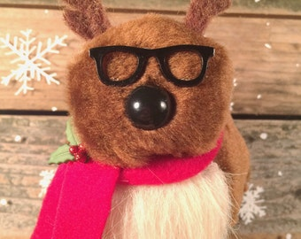 Hipster Reindeer Finger Puppet/ Ornament