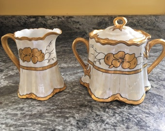 Hutschenreuther Selb Bavaria Hand Painted Gold Trimmed Creamer, Sugar bowl set