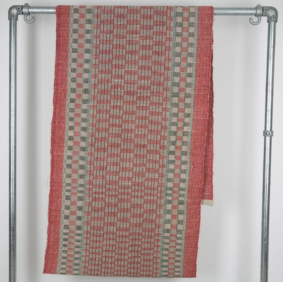 Vintage Hungarian Rag Rug. Red And Green Check. Hall Runner