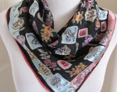 "VERA // Black Colorful Soft Silk Scarf  // 22"" Inch 56cm Square // Best of the Best"