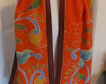 "Hand Painted Bright Red Colorful Silk Scarf // 14"" x 60"" Long // Best of the Best"