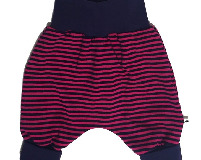 Baby kids toddler girl boy clothing harem pants baggy pants sweat pants, pink purple stripes, girls outfit. Size preemie - 3 y