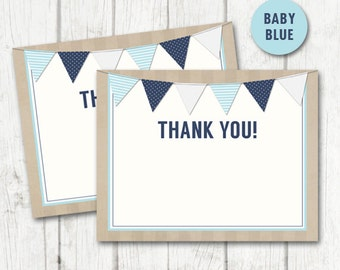 RUSTIC Baby Shower THANK YOU Cards - Flat a2 Sized - Baby Blue and Navy - Instant Download
