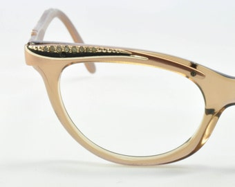 Vintage Cat Eye Glasses, Shuron, Bronze Color with Rhinestone Brow & Temples, NOS