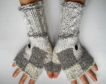 HAND KNITTED GLOVES / Women Accessories Fingerless Mittens Elegant Warm Wrist Warmers / Crocheted Winter Feminine Cabled Romantic Chic 554