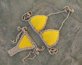 Brazilian bikini in yellow and gold, Thong bikini, Micro bikini, Sexy Bikini, Crochet swimsuit, Crochet bikini top,  cheeky bikini