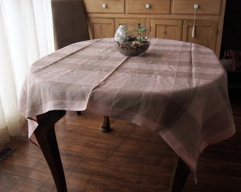 Linen Tablecloth Mocha Peach/Pink Plaid Vintage 51 x 52