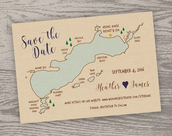 Printable Digital File - Green Lake Map Save the Date Card - Customizable - Wedding, Shower, Wisconsin, Hand-drawn