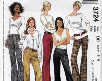 Misses' Low Rise, Wide Leg Pants Sewing Pattern - McCall's 3724 - Sizes 12-14-16-18 - UNCUT