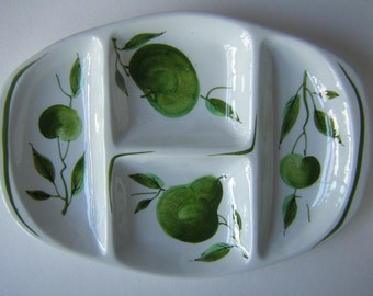 Vintage ITALIAN Ceramic Serving Dish Platter Divided - Hand Painted Fruit