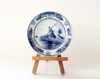 Small Delft Plate made in Holland Collectible Decorative Blue Delft Windmill