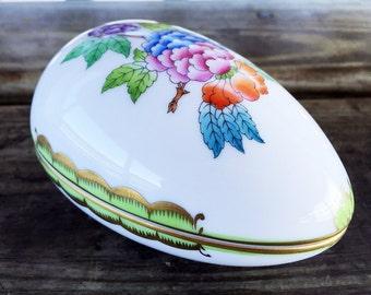 Hand Painted Porcelain Egg Box Easter Egg Trinket Box Herend Hungary