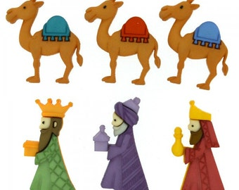 Three Kings Buttons 6pc