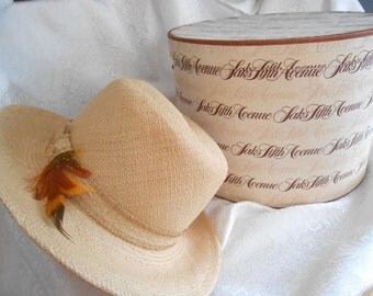 Saks 5th Ave Woman's Woven Straw Hat with Feather,  Vintage