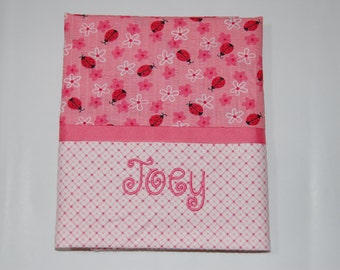 Girl's Ladybug Embroidered Pillowcase