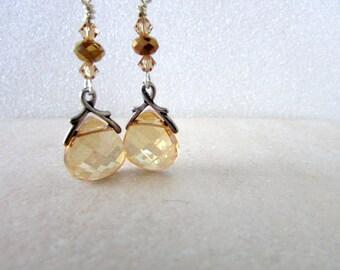 Champagne Briolette Earrings, Swarovski Earrings, Swarovski Jewelry, Briolette Earrings, Birthstone Earrings, Birthday, Free US Shipping