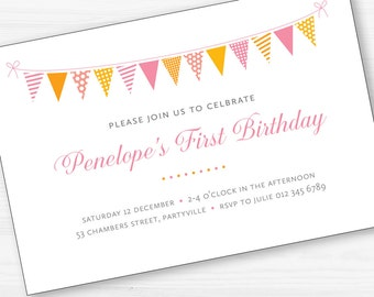 Bunting Birthday Party Invitation Digital Printable
