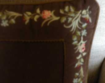 Brown Velvet Embroidered Pillow