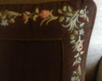 Brown Velvet Embroidered Pillow