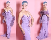 """DEADSTOCK w/ Original Tags 1940's Inspired Designer """"Nicole Miller"""" Violet Purple Stretch Silk Extreme Hourglass Evening Gown w/ Back Train"""