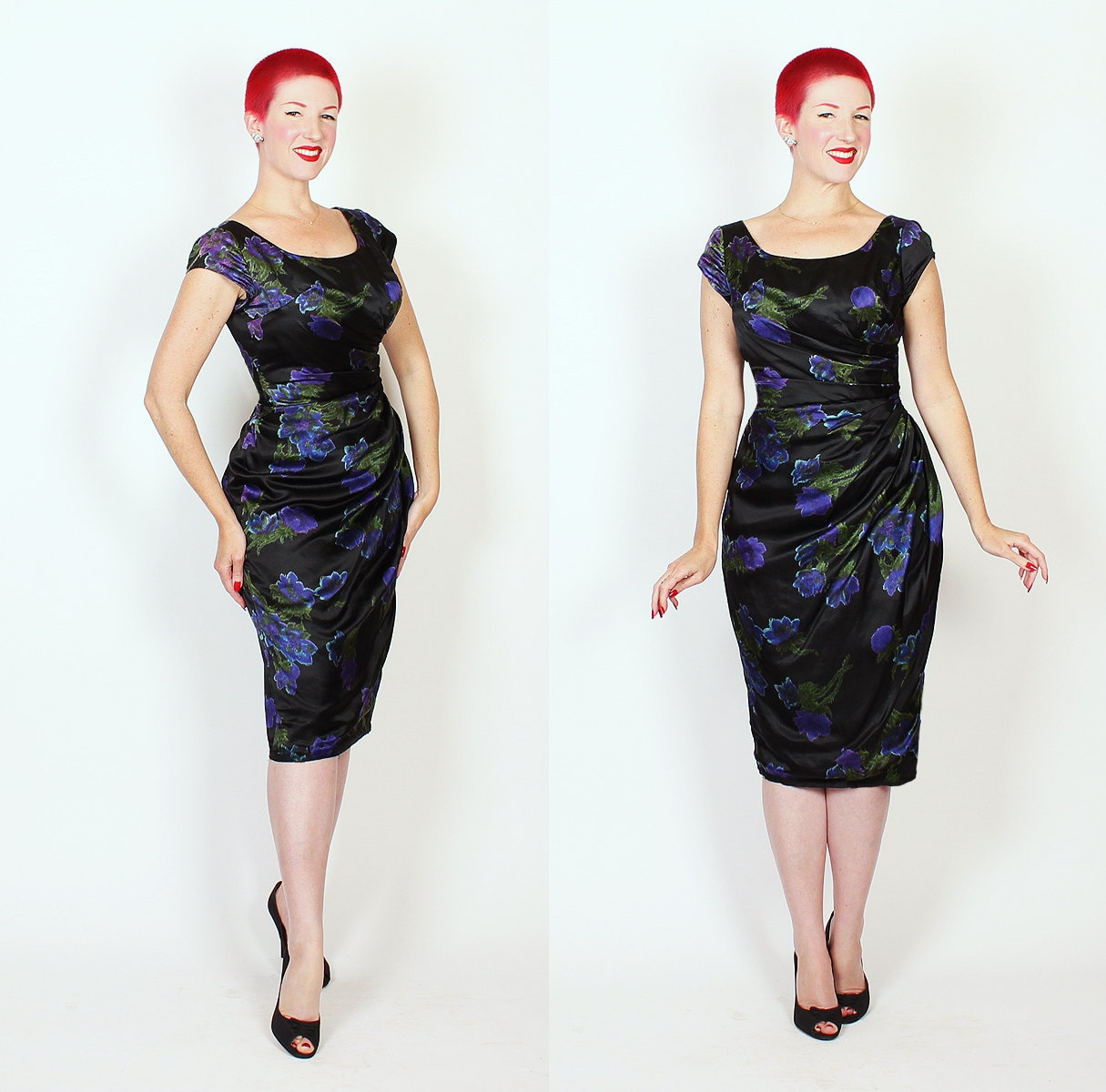 DESIGNER 1950s Inky Black Silk w/ Electric Purple & Blue Rose Motif Hourglass Draped Faux Sarong Cocktail Dress by Kay Selig New York - M