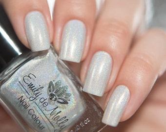 "Nail polish - ""Crystal Crown"" White linear holographic polish"