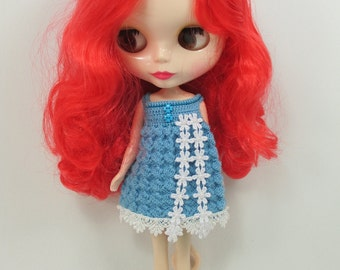 Handcrafted crochet knitting dress outfit clothes for Blythe doll # 100-B