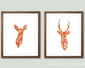Modern Deer Prints - Deer Wall Art  - Deer and Doe Prints - Deer antlers Wall Art - Stag Print - Set of 2 Prints - Fall decor - Woodland Art