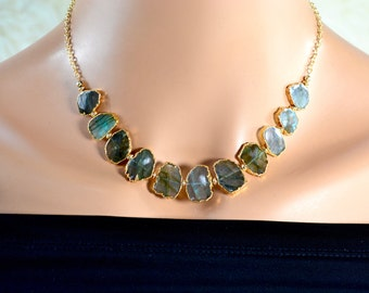 LP 1355 Natural Shaped, Gold Leafed, Sliced Labradorite  And 14KGF Necklace