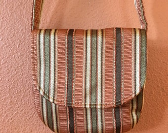 Emily1505  Small Sadddlebag, Cross Body Purse, Cross Body Purses, Small Purses,  Small Bags, Purses, Bags, Handbag, Up Cycled Striped Fabric