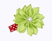 Christmas Hair Clip - Baby Hair Clip - Red and Green - Silk Flower Hair Clip - Baby/Toddler/Girl Hair Clip - No Slip Grip