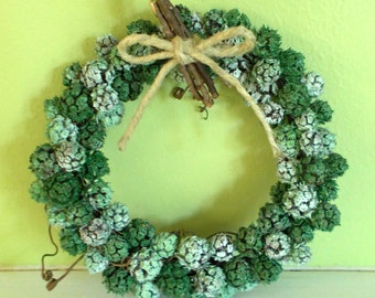 """7"""" Shades of Green Grapevine Wreath, All Natural w/Tendrils, OOAK Country  FREE SHIPPING!!!"""