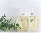 Personalized Stemless Champagne Flutes + His Hers Glasses + Lowercase Writing + Glass + Permanent + New Years