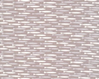 Two Tone Grey and White Fish Organic Cotton Interlock Knit, Cloud 9 Knits, 1 Yard
