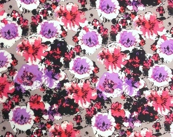 Purple Grey and Pink Floral Rayon Challis, 1 yard