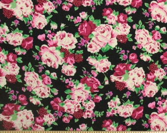 Pink Cream Green and Black Rose Floral Rayon Challis, 1 yard