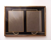 1920s Art Deco Black & Gold reverse-painted Picture Frame for two 6.5 x 4.5 photos