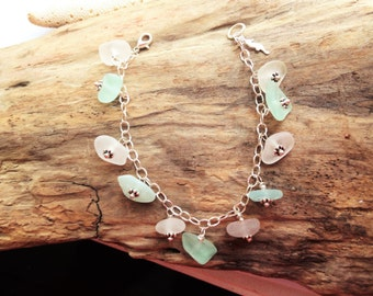 Seaglass Bracelet - Sterling Glass Bracelet - Lake Erie Beach Glass