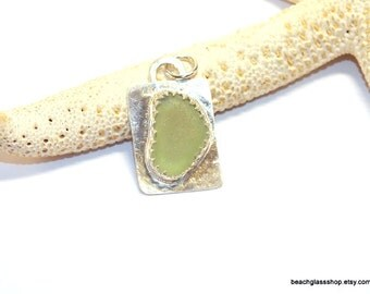Genuine Sea Glass Pendant, Seafoam Green Necklace,  Lake Erie Beach Glass