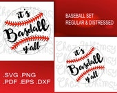 Baseball SVG, Its Baseball Y'all,  Baseball Cutting File, Digital Download,, Distressed Baseball SVG