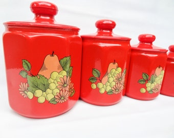 Set of 4 Red Kromex Canisters or Cookie Jars with Pears Grapes and Flowers