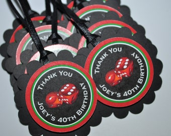 40th Birthday Party Favor Tags, Casino Birthday Party Favors, Dice Thank You Tags, Mens Birthday Party, Set of 12