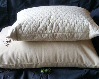 """Buckwheat Hull SMALL Soba Gara Makura Style Pillow With Unbleached Quilted Calico Insert 15"""" X 21"""""""