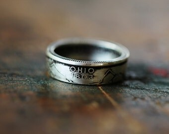 Handmade Silver Ohio State Coin Ring, Custom Sizing 4-13