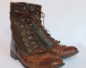 Vintage Brown Leather Boots Fits Size 8 Women TEXAS Brand